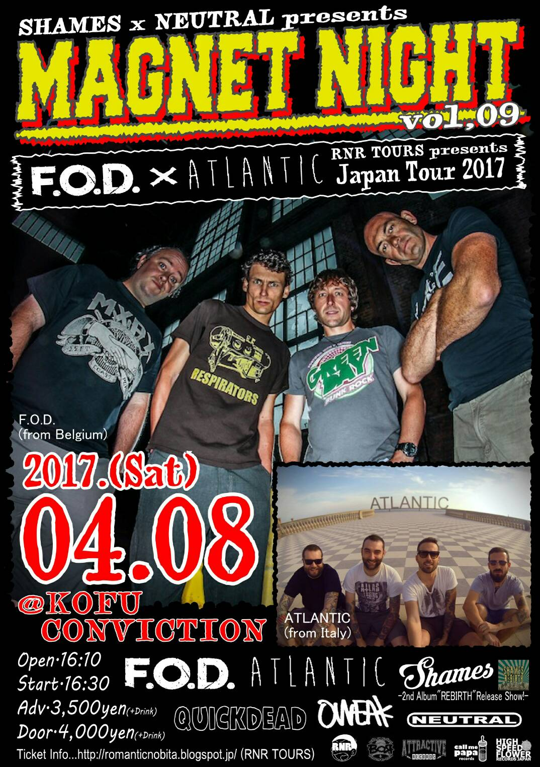 MAGNET NIGHT vol.9 F.O.D. & ATLANTIC JAPAN TOUR 2017